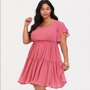 Rose Pink Ruffle Chiffon Dress